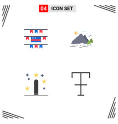 Flat icon pack 4 universal symbols buntings vector