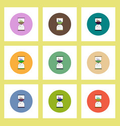 Flat icons set of column chart and sand clock vector