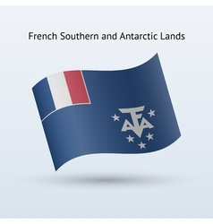 French southern and antarctic lands flag waving vector
