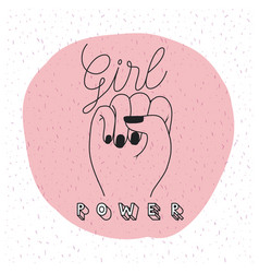 Girl power emblem with raised fist in sign of vector