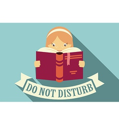 Girl reading a book do not disturb vector image