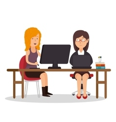 Girls team office workplace computer vector