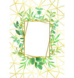 Gold geometric frame and greenery vector