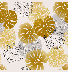 golden tropical gradient and dotted leaves vector image