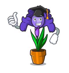 Graduation iris flower character cartoon vector