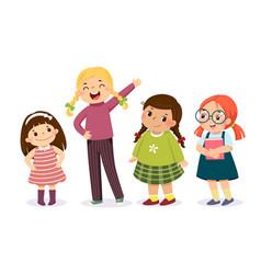 Group cute little girls vector