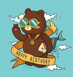 Hand Drawn Cool Bear Birthday Greeting Card vector image