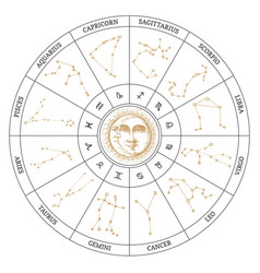 hand drawn zodiac symbols in astronomical cycle vector image