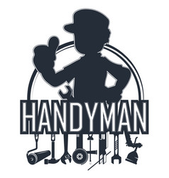 Handyman with a tool silhouette vector