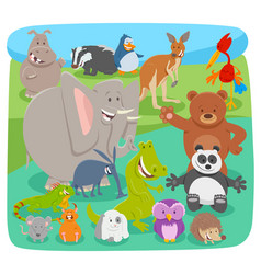 happy cartoon animal characters background vector image
