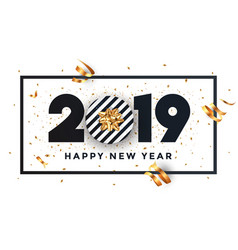 Happy new year 2019 - banner with frame vector