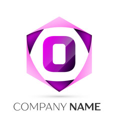 Letter o symbol in the colorful hexagonal vector