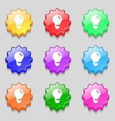 light bulb idea icon sign symbol on nine wavy vector image