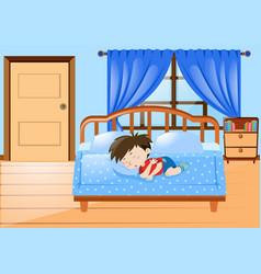 little boy sleeping in bedroom vector image