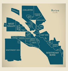 Modern city map - boise idaho city of the usa vector