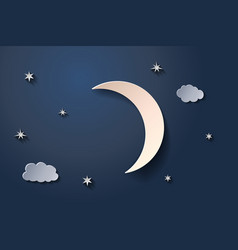 moon in night sky and small clouds vector image
