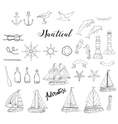 Nautical background with ships vector