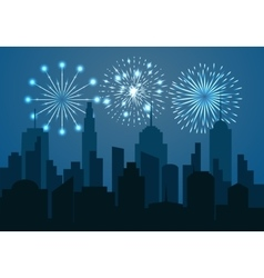 Night cityscape silhouette with festive fireworks vector image