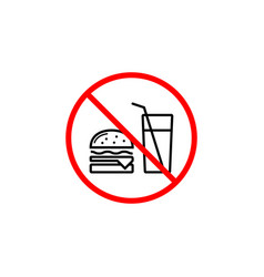 No food allowed line icon prohibition sign vector