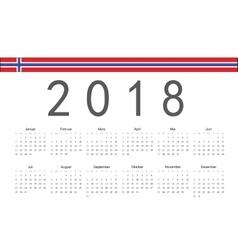 Norwegian 2018 year calendar vector