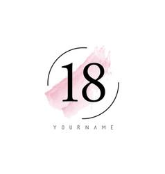 Number 18 watercolor stroke logo design vector