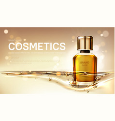 Oil perfume bottle with gold liquid background vector