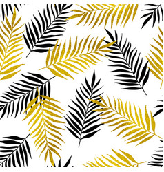 Pattern with black and golden palm leaves vector