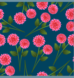 Pink dahlia on indigo blue background vector