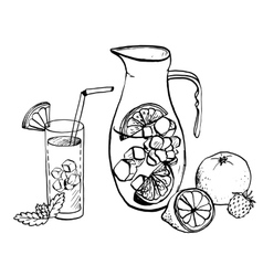 Pitcher of lemonade and drink in a glass vector
