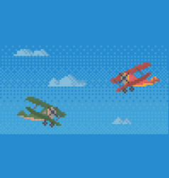 pixel helicopters for old game design layout air vector image