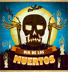 print - mexican sugar skull day of the dead poster vector image