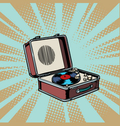 Retro vinyl record player pop art background vector