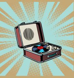 retro vinyl record player pop art background vector image