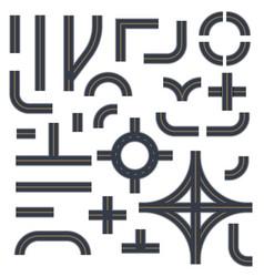 roads highways street elements templates set vector image