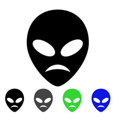 Sad alien head flat icon vector