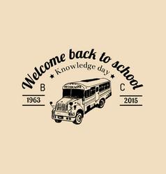 School bus logo vintage back to vector
