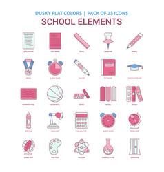 school elements icon dusky flat color - vintage vector image