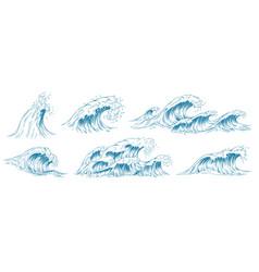 sea waves sketch storm wave vintage tide vector image