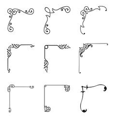 set 9 decorative corners vector image