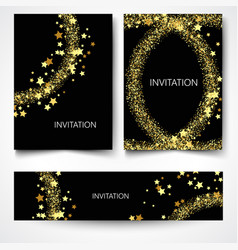set of backgrounds with golden lights to design vector image