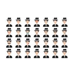 Set of mafia emoticon isolated on white background vector