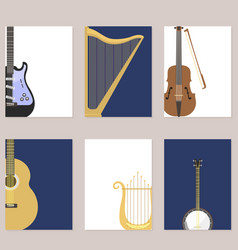 Set of stringed cards with musical instruments vector