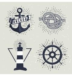 set retro nautical labels vector image