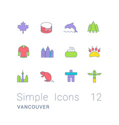 set simple line icons vancouver vector image