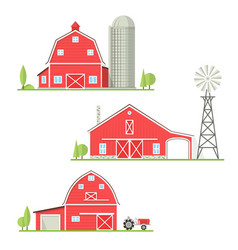 set thin line american farm icon vector image