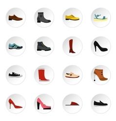 Shoe icons set flat style vector image