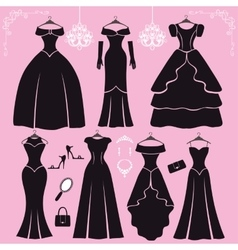 Silhouette of black party dressesaccessories vector