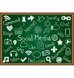 Social media icons and terms on chalkboard vector image