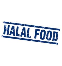Square grunge blue halal food stamp vector