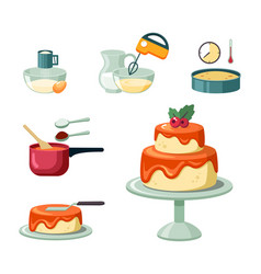 Stages and equipment making birthday cake set vector